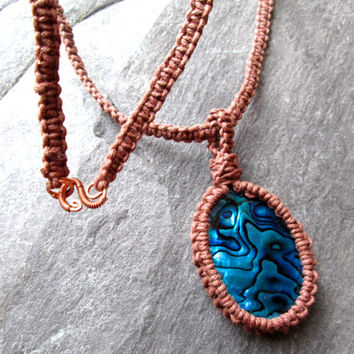 Blue Abalone Hemp Necklace, Sea shell Necklace, Micro-Macramé Knotted Hemp, Boho Beach Theme Jewellery, UK made, Brown and Blue