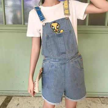 2018 Summer women's Overalls casual cute duck print jeans strap shorts women's bottoms curled loose kawaii coveralls Overalls