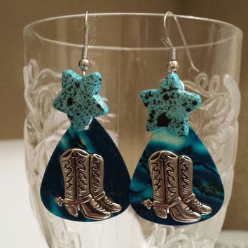 Guitar Pick Jewelry by Betsy's Jewelry - Earrings - Country Western - Rodeo Styles