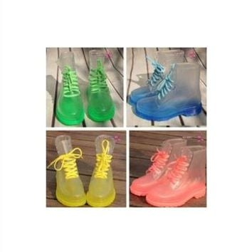 women's flat heel transparent rain boots martin rainboots waterproof shoes women motorcycle boots
