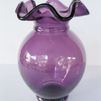 Fenton Vase Amethyst Crimped Top Vintage Purple