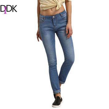 Womens Fitness Clothes 2016 Women Summer Trousers Ladies Casual Blue High Waist Button Fly Long Denim Skinny Pants