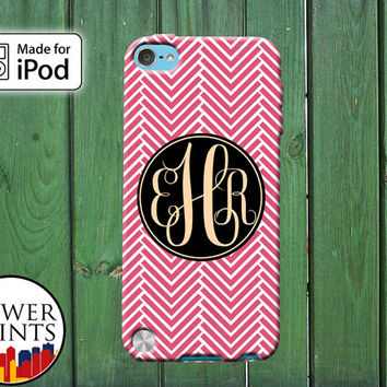 Red Chevron Pattern Gold Cursive Initials Custom Monogram for iPod Touch 4th Generation and iPod Touch 5th Generation Gen Plastic Rubber