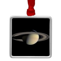 Saturn planet with rings around it square metal christmas ornament