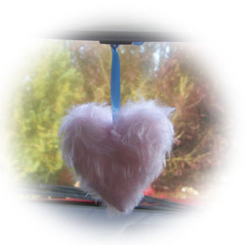 hanging heart for interior car mirror Plain furry fur fluffy fuzzy plain choice of colour / color and choice of ribbon color car