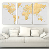 """Highly detailed printable word map in faux gold foil and grey, set of 3 split panels in 24x36"""" each, no quote"""