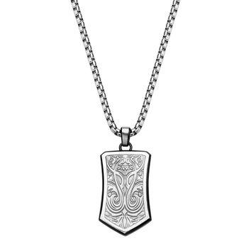 316L Stainless Steel Bold Carving Ornate Shield Dog Tag Necklace