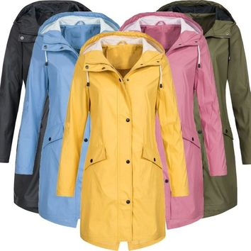Women Fashion Long Sleeve Hooded Raincoat Windbreaker Hiking Ladies Casual Solid Color Outdoor Waterproof Trench Coats -82
