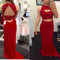 Red Prom Dress in 2 Pieces For Evening Party pst0650