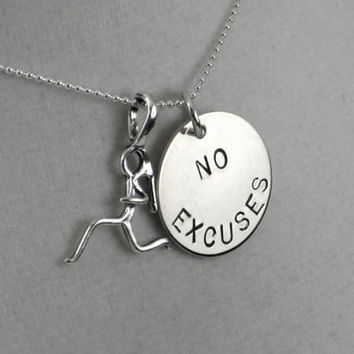 NO EXCUSES RUNNER Girl Sterling Silver Necklace - Choose 16, 18 or 20 inch Sterling Silver Ball Chain with spring ring clasp - No Excuses