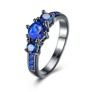 Sapphire 3 Stone Black Gun Plating Midi Ring 925 Sterling Silver Unique Casual Rings
