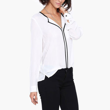 V Neck Shirt Long-Sleeved Black Trim White Shirts Long Sleeve Loose Shirt Blouse PE3529*50