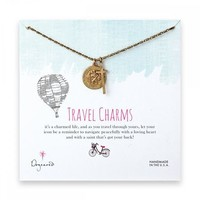 travel charms necklace, brass -18 inches