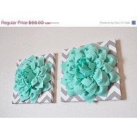 "Two Wall Flowers -Mint Dahlia Flowers on Gray and White Chevron 12 x12"" Canvas Wall Art- Baby Nursery Wall Decor-"