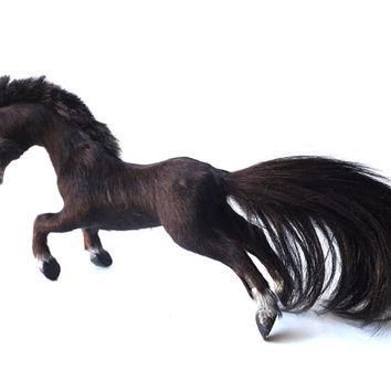 vintage figurine horse odd rogue pony hair taxidermy dark black real animal fur decora