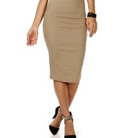 Mocha High Waisted Pencil Skirt