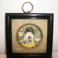 Retro Girl Grooming Poodle Wall Art Picture Counterpoint Japan Vintage Home Decor