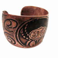 Boho Copper Cuff tribal bracelet with etched crab