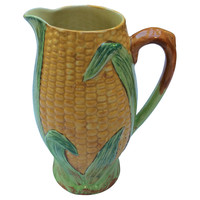 Staffordshire Majolica Corn Pitcher