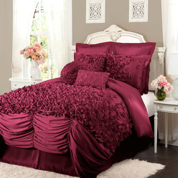 Lush Decor C07334P13 Lucia Four Piece Raspberry Comforter Set Queen