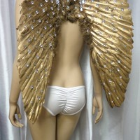 Medium Rhinestone Angel Wings Samba Cosplay Dance Costume Rave Bra Halloween