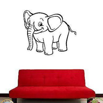 Wall Sticker Smiling Baby Elephant Cool Decor For Living Room Unique Gift z1425