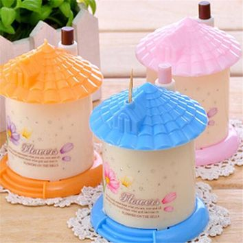 Stenzhorn Lovely Automatic Toothpick Holder Pocket Fashion Small Portable House Shape CUTE Toothpick Box storage BOTTLE