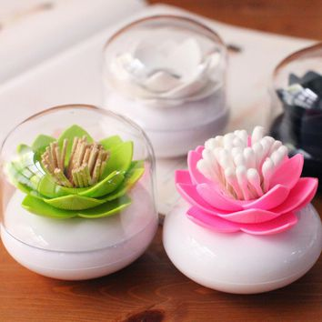 Hoomall Creative Lotus Toothpicks Holder Cotton Swab Box Cotton Bud Holder Case Table Decorate Storage Box Organizer 8cm