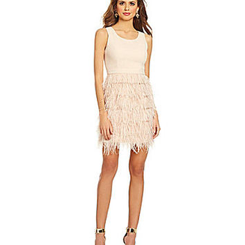 Gianni Bini Bradshaw Feather Dress - Blush