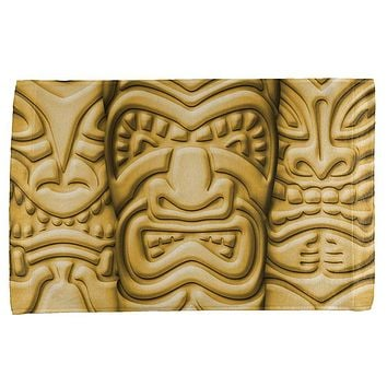 Tiki God Gold Face Luau All Over Bar Hand Towel