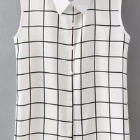 Plaid Pointed Flat Collar Sleeveless Top