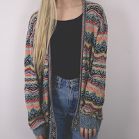 Vintage Colorful Aztec Cardigan Sweater