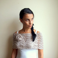 PDF crochet pattern lacy capelet  shrug shawl bride wedding loop flower neckwarmer  - DIY tutorial - Quick and easy gift