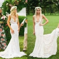 V Neck Lace Wedding Dress with Illusion Bodice Boho Country Bridal Dress Gown