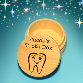 Design's Personalized Tooth Fairy Box with Engraved Tooth Design, Font Selection, & Gift Pouch Included