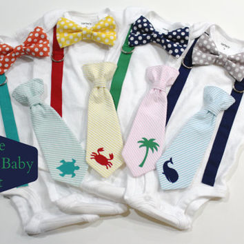 Newborn Boys Preppy Outfit with Bowtie and Tie. Boy baby Shower Seersucker, polka dot. Perfect unique hospital present. The Preppy Baby Kit.