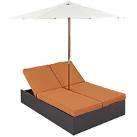 Convene Outdoor Patio Chaise with Umbrella in Espresso Orange