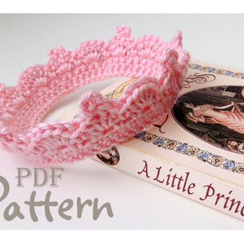 PDF CROCHET PATTERN, Baby Crown Crochet Pattern for Girl or Boy, Lots of Photos, Baby Tiara, Digital Download