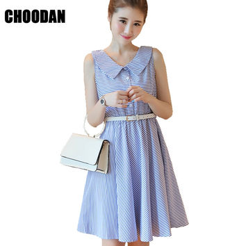Women Dress Striped Summer 2017 New Fashion Korean Style Sexy Sleeveless Sweet Peter Pan Collar Short Dress Pleated Mini Dresses