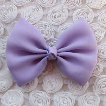 """4.5"""" pastel purple hair bow, lavender hair bow, lavender bows, fabric hair bow, girly hair bow, light purple hairbow, solid color bows"""