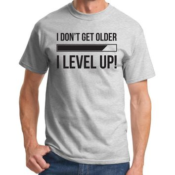 I Don't Get Older I Level Up Letter Print Men T shirt Fashion Casual Funny Shirt For Man Black White Gray Top Tee Hipster ZT-126