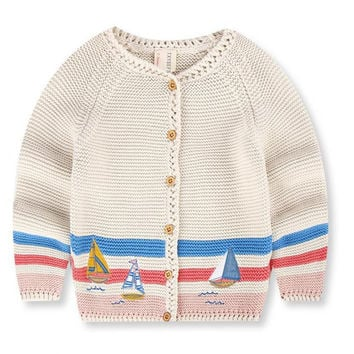 2-7y Desinger Boys Girls Knit Cardigan Sweater With Embroidered Boat Kids Cotton Knitwear For Autumn Winter