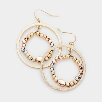 Textured Metal Ball Circle Earrings
