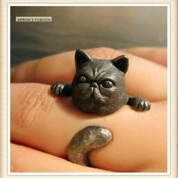 Wholesale Newest Retro Hippie Garfield Cat Ring Free Size Fashion Animal Kitty Cat Ring Jewelry For Women Men Pet Lover