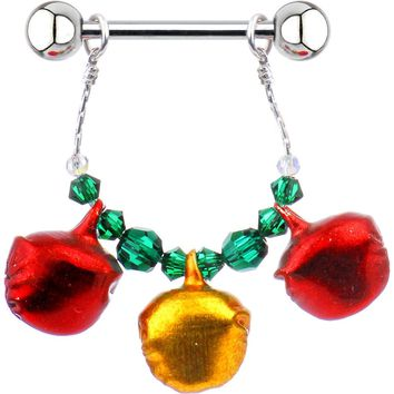 Holiday Jingle Bell Nipple Ring Set Created with Swarovski Crystals