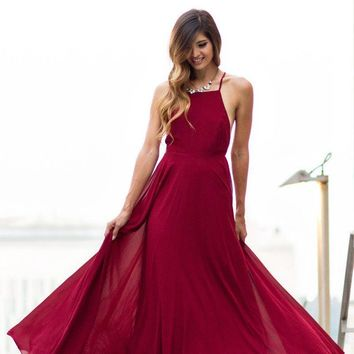 Emma Burgundy Flowy Maxi Dress