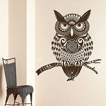 Owl Wall Decals Vinyl Sticker Decal Art Home Decor Murals Wall Decal Owl Bird Animal Tribal Pattern Tattoo Fashion Bathroom Bedroom Dorm Nursery Decals U413