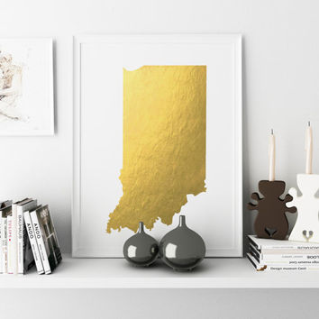 Indiana Art Print State Art Indiana Gold Foil Printable Usa Map Print Print Silver Foil Copper Foil Gold Wall Art Real Gold Foil Metallic
