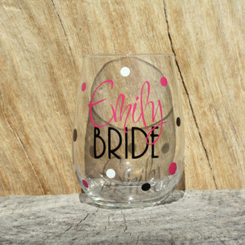Personalized Bride Stemless Wine Glass- With Added Polka Dots