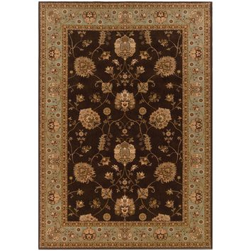 Knightsbridge Brown Blue Oriental Persian Traditional Rug